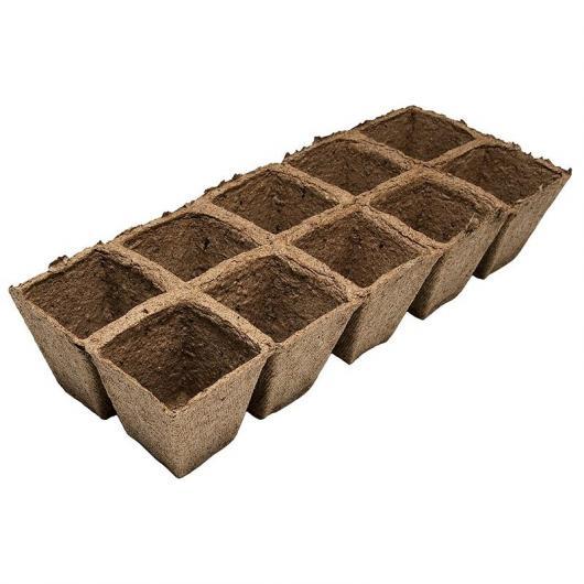 Pack 3 plateaux de 10 pots 6 x 6 cm
