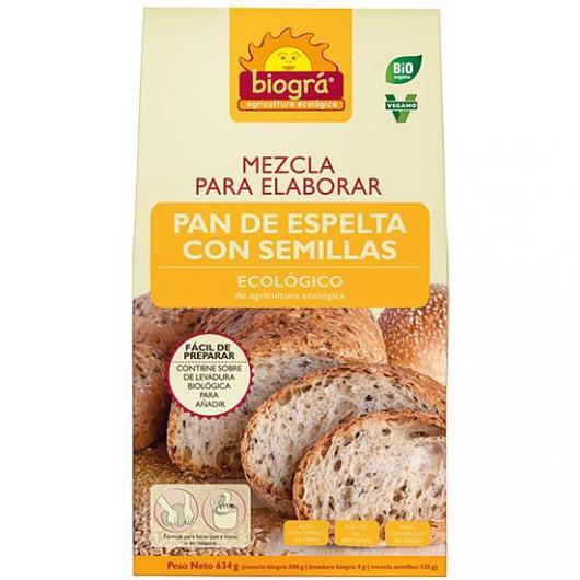 Mezcla para elaborar Pan de Espelta con Semillas Biográ, 634g