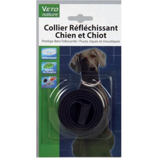 Collare cane riflettente nero con estratto di margosa