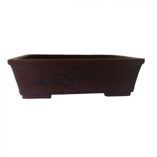 Pot Nanjing marron + plateau (avec gravure noire)