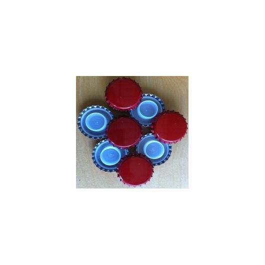 Chapas de 29 mm Rojas con obturador de seguridad largo para botellas de cava - 200 unid