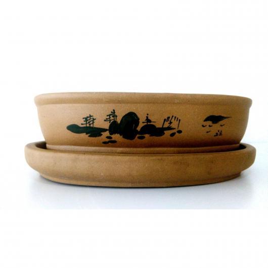 Pot à bonsaï Nanjing ovale + plateau