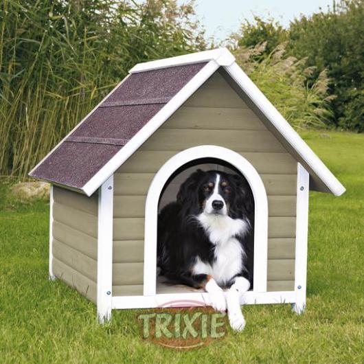 Caseta perro madera natura gris blanco peque a por 99 95 en planeta huerto for Casetas de huerto