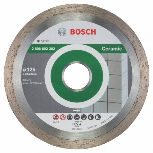 Disco de corte de diamante Bosch para amoladora 125 mm para azulejos y cerámica