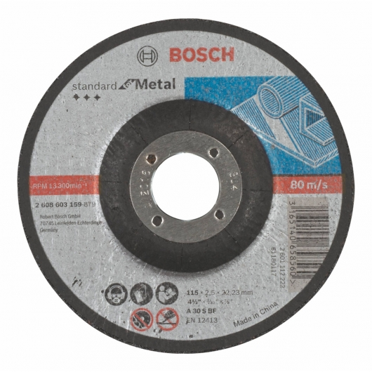 Disco de corte rebajado Bosch para amoladora 115 mm para metal