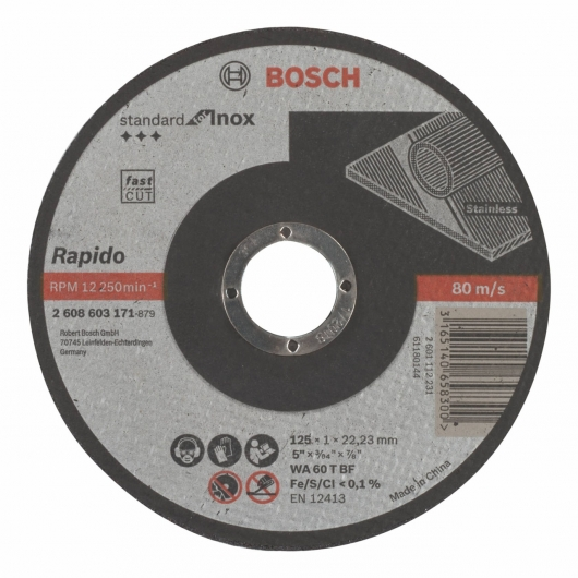 Disco de corte recto Bosch para amoladora 125 mm para metales inoxidables