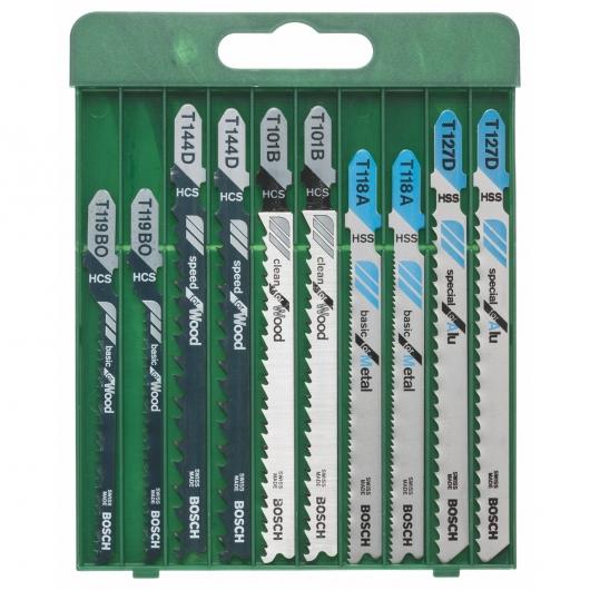 Set de 10 hojas de sierra de calar T Bosch para madera, metal y aluminio
