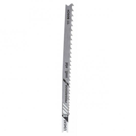 Pack de 2 hojas de sierra de calar U 345 XF Bosch para cortes en madera, metal y plástico