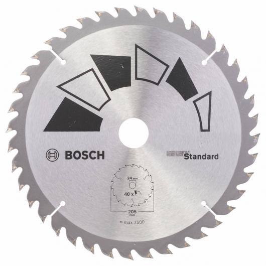 Disque standard Bosch pour scie circulaire 205 x 16/18/20/24 mm 40 dents