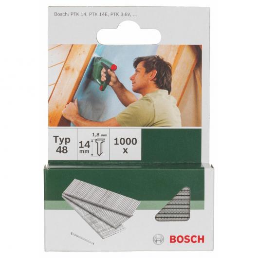 Pack de 1000 clavos Bosch para grapadoras 1.8 x 14 mm