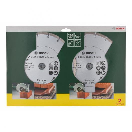 Set de 2 discos de diamante universales Bosch 230 mm