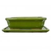 Vaso Basic retangular verde + prato