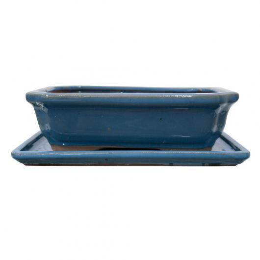 Vaso Basic rettangolare blu chiaro + piatto