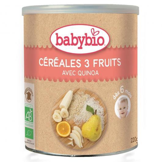 Pappa di cereali e 3 Frutti Babybio, 220 gr