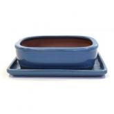 Vaso Basic ovale blu 25 cm + piatto