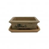 Vaso Yixing 17 cm retangular ocre + prato