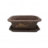 Tiesto Yixing 17 cm rectangular marrón claro + plato