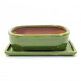 Vaso Basic oval verde 20 cm + prato