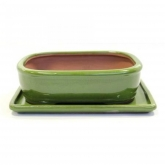 Vaso Basic ovale verde  + piatto