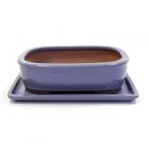 Vaso Basic oval lilás 20 cm + prato