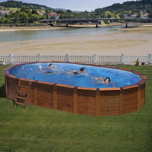 Piscina ovalada madera - acero 640 x 425 x 132 cm Gre