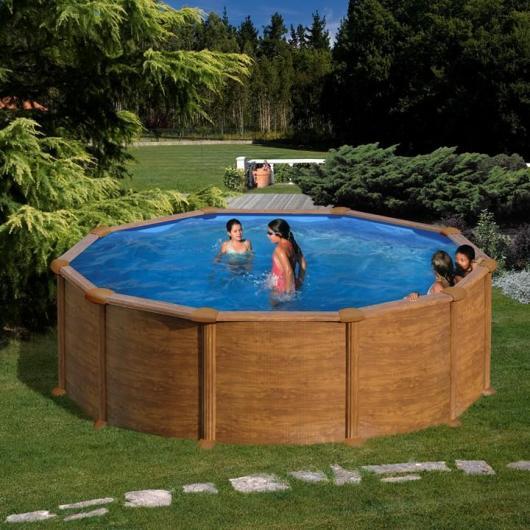 Piscina rotonda aspetto in legno 350 x 132 cm autoportante Gre