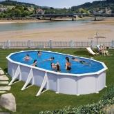 Branco piscina oval 730 x 375 x 132 centímetros Gre