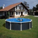 Imitação rattan piscina redonda Ø 460 x 120 cm, com sistema de feixe Gre