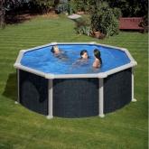 Imitação rattan piscina redonda Ø 350 x 120 cm, com sistema de feixe Gre