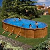 Piscina oval imitação madeira 730 x 375 x 120 centímetros Gre