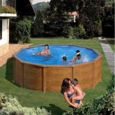 Rodada imitação de madeira piscina Ø 460 x 120 cm, com sistema de feixe Gre