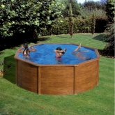 Piscina redonda imitação madeira 350 x 120 cm com sistema de vigas Gre