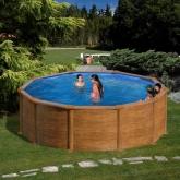 Imitação de madeira piscina redonda Ø 460 x 120 cm, com filtro de cartucho Gre