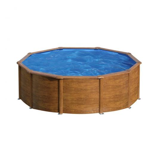 Piscina rotonda aspetto in legno 350 x 120 cm con filtro a cartuccia Gre