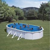 Branco piscina oval 730 x 375 x 120 centímetros Gre