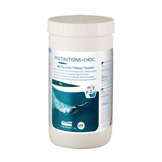 Cloro Multifunción + choque pastillas 250 g doble capa - 1 Kg Gre