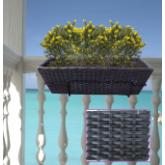 Jardinière en rotin anthracite + support balcon