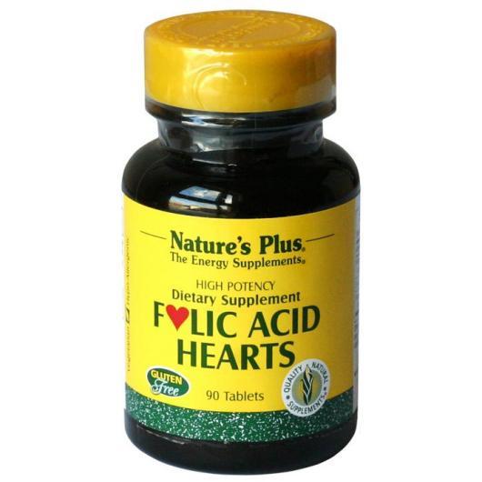 Folic Acid Hearts de Nature's Plus, 90 comprimés