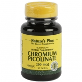 Picolinato de cromo Nature's Plus, 90 comprimidos
