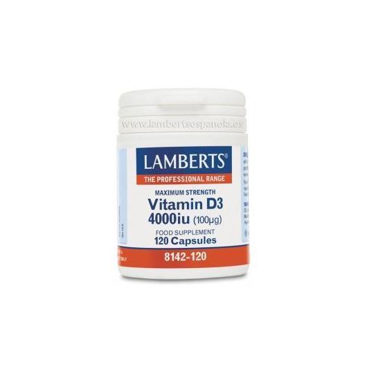 Vitamine D3 4000 UI (100 µg) Lamberts, 120 gélules