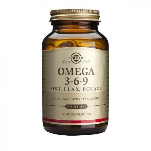 Omega 3-6-9 (poisson, lin, bourrache) Solgar, 60 gélules douces