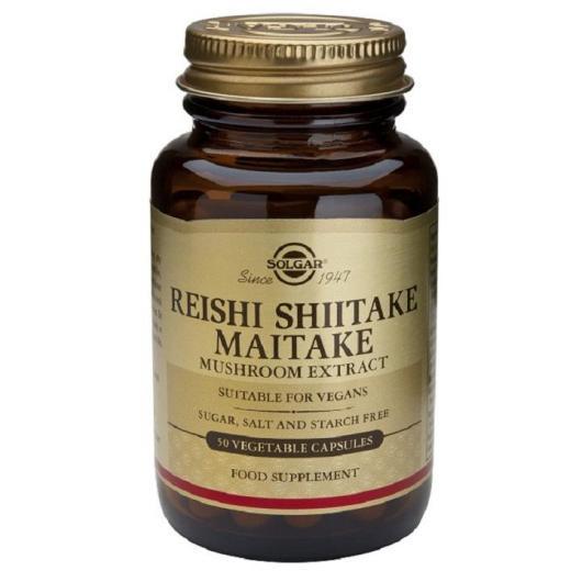 Reishi, Shiitake y Maitake Solgar, 50 cápsulas vegetales