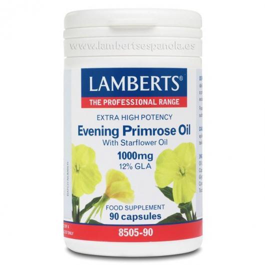 Aceite de Prímula (Onagra) extra alta potencia con Borraja 1000mg Lamberts, 90 cápsulas