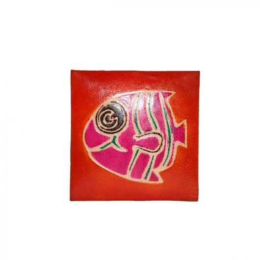 Porte-monnaie en cuir orange poisson Nemo