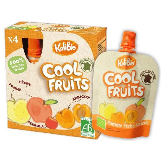 Cool Fruits Manzana, Melocotón y Albaricoque Vitabio,4 x 90 g