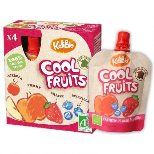 Cool Fruits pomme, fraise et myrtille Vitabio, 4 x 90 g