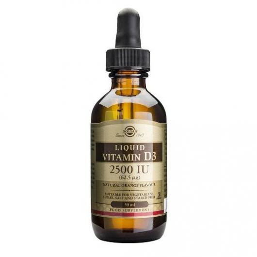 Vitamina D3 liquida 2500 UI (62,5 μg) Solgar, 59 ml