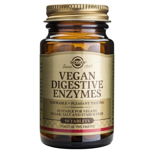Vegan Enzimas Digestivas Solgar, 250 comprimidos masticables