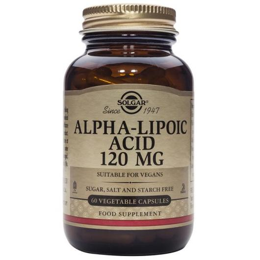 Acide alpha-lipoïque 120 mg Solgar, 60 gélules végétales