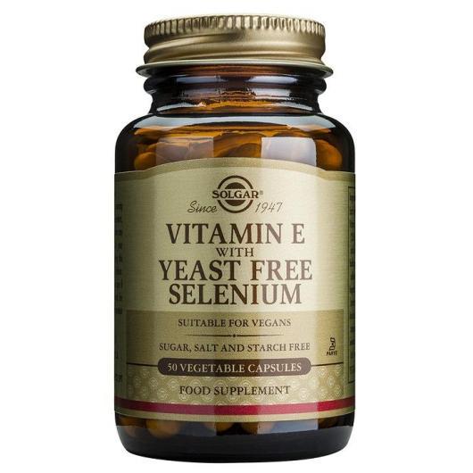 Vitamine E avec sélénium sans levure Solgar, 50 gélules végétales